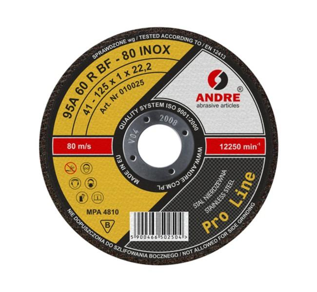 ŚCIERNICA 41 125x1,6x22,2 95A46R BF-80 INOX