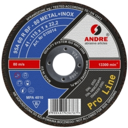 ŚCIERNICA 42-115x0,8x22,2 95A80RBF-80 METAL/INOX