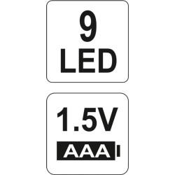 LATARKA ALU, 9 LED, CZARNA 3XAAA