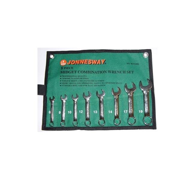 Kpl. kluczy płasko-oczkowych krótkich  W53108S